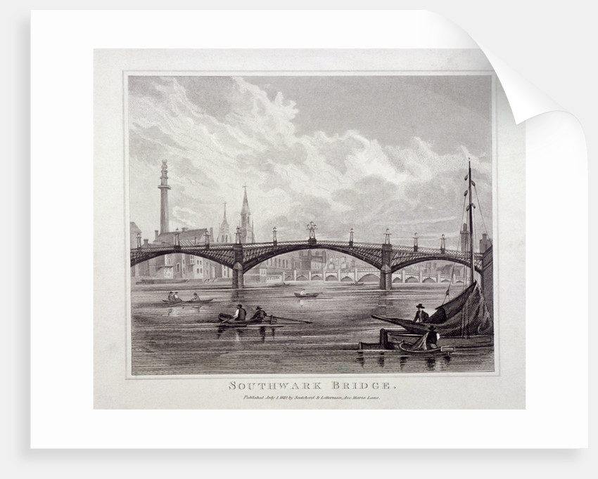 View of Southwark Bridge with boats on the Thames by Anonymous