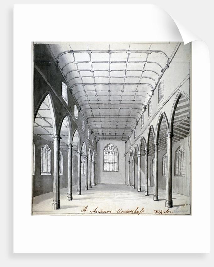 Interior view of the Church of St Andrew Undershaft, Leadenhall Street, London, c1820(?) by Wheeler