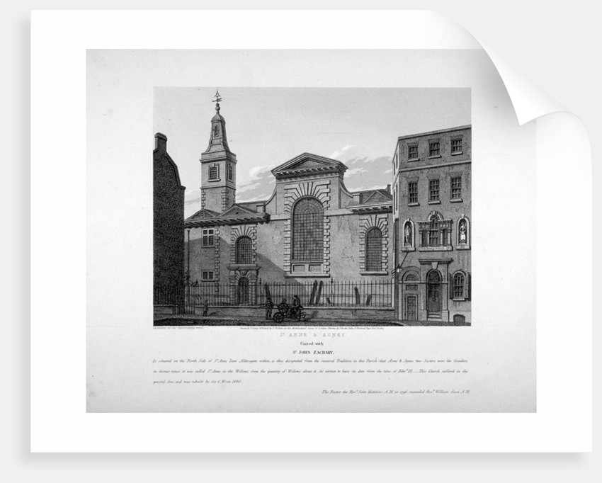 Exterior view of St Anne and St Agnes, City of London by Joseph Skelton