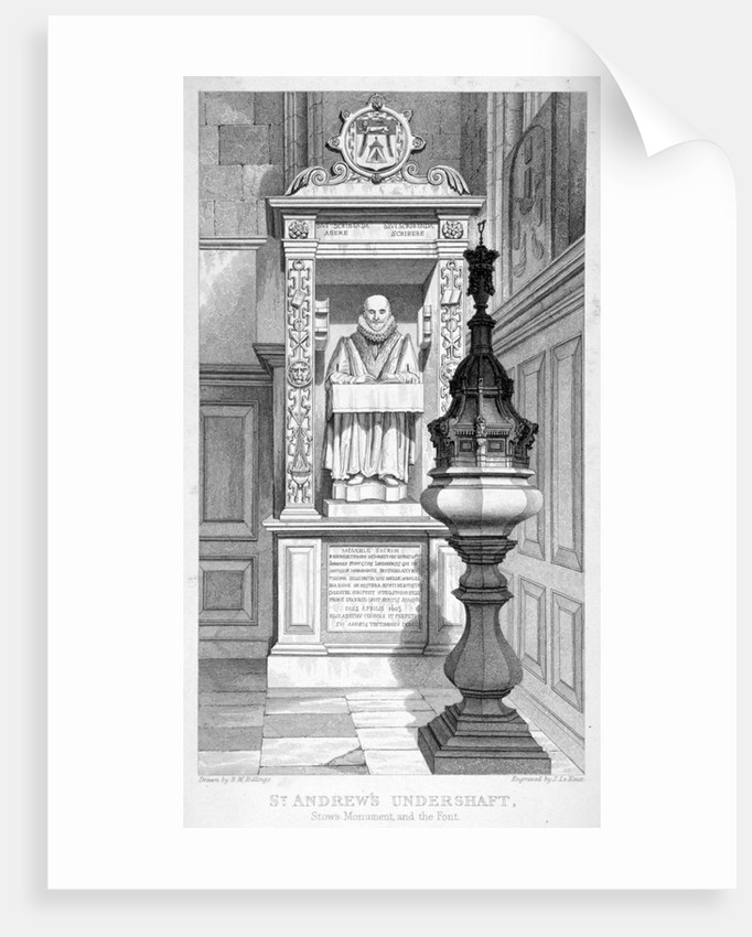 Monument to John Stow and font in St Andrew Undershaft by