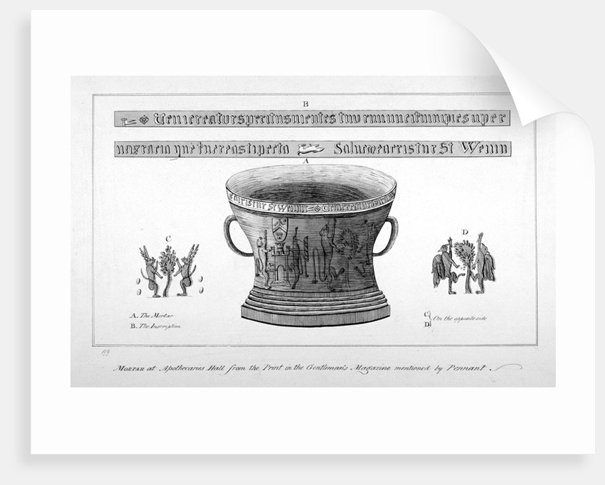 Depiction of a mortar from the Apothecaries' Hall, including inscription by Anonymous