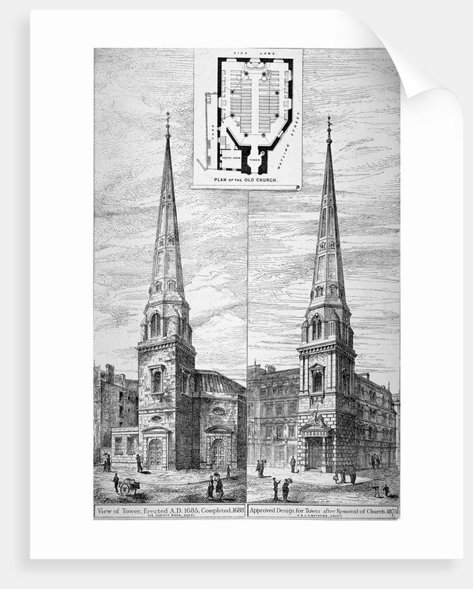 Two views of the tower of St Antholin, City of London by Anonymous