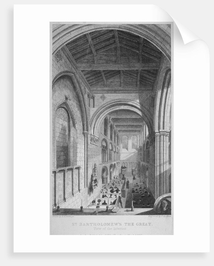 People in pews inside the Church of St Bartholomew-the-Great, Smithfield, City of London by John Le Keux