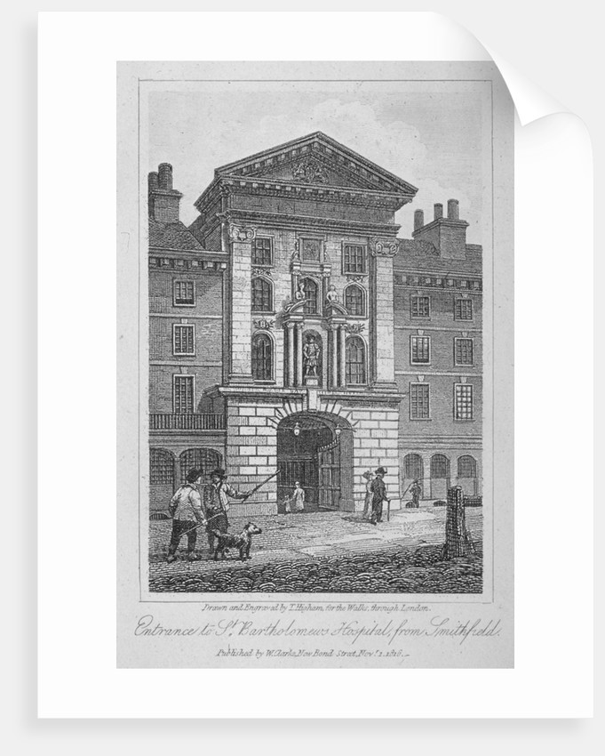 View of the entrance of St Bartholomew's Hospital from Smithfield, City of London by Thomas Higham