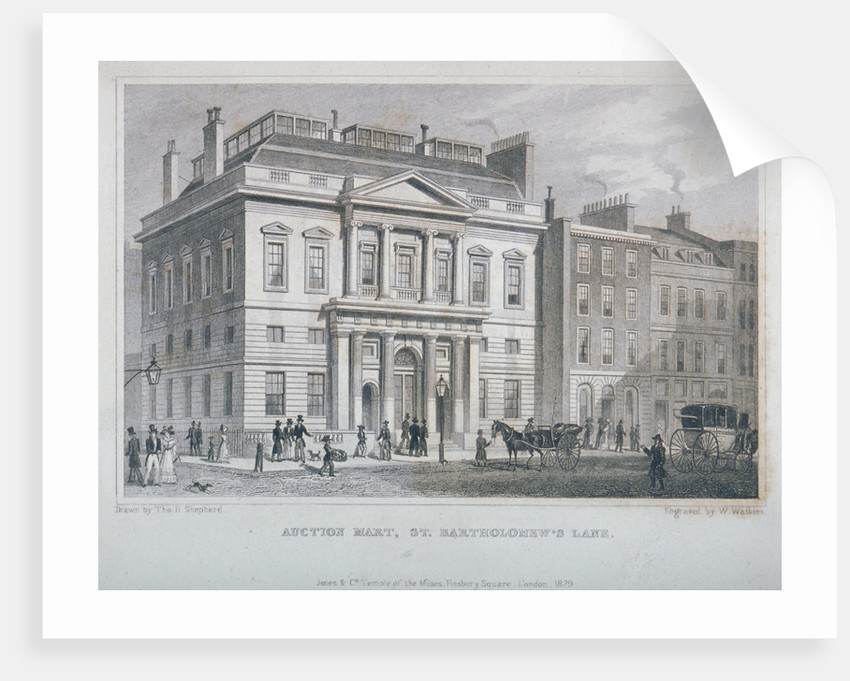 View of the Auction Mart in Bartholomew Lane, City of London by W Watkins