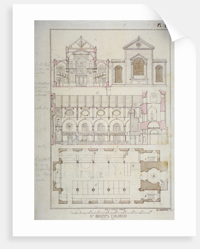 Section, elevation and ground plan of St Bride's Church, Fleet Street, City of London by H Ansted