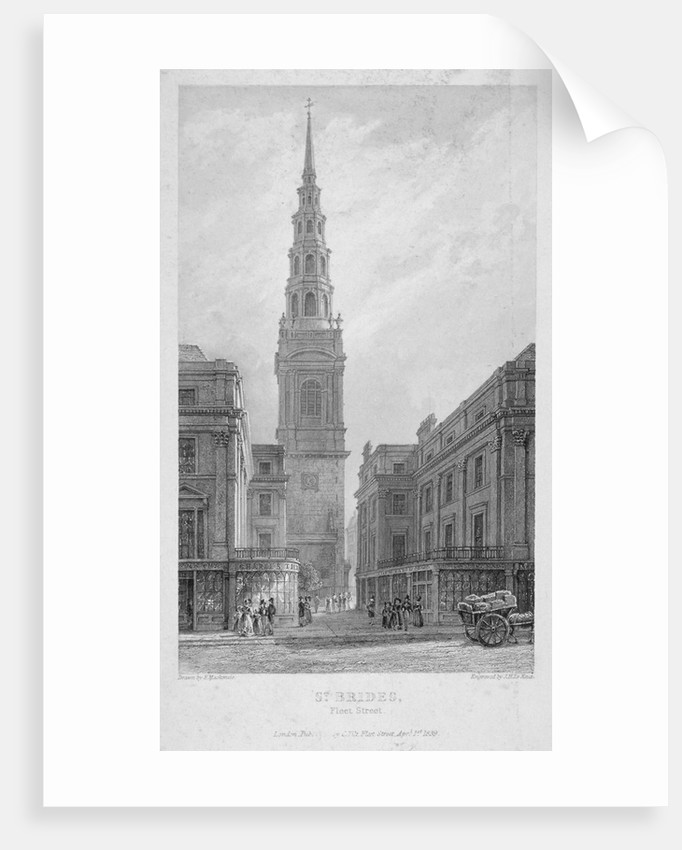 St Bride's Church, Fleet Street, City of London by John Le Keux