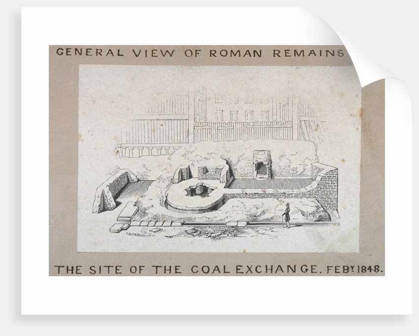 View of Roman remains on the site of the Coal Exchange, City of London by FW Fairholt