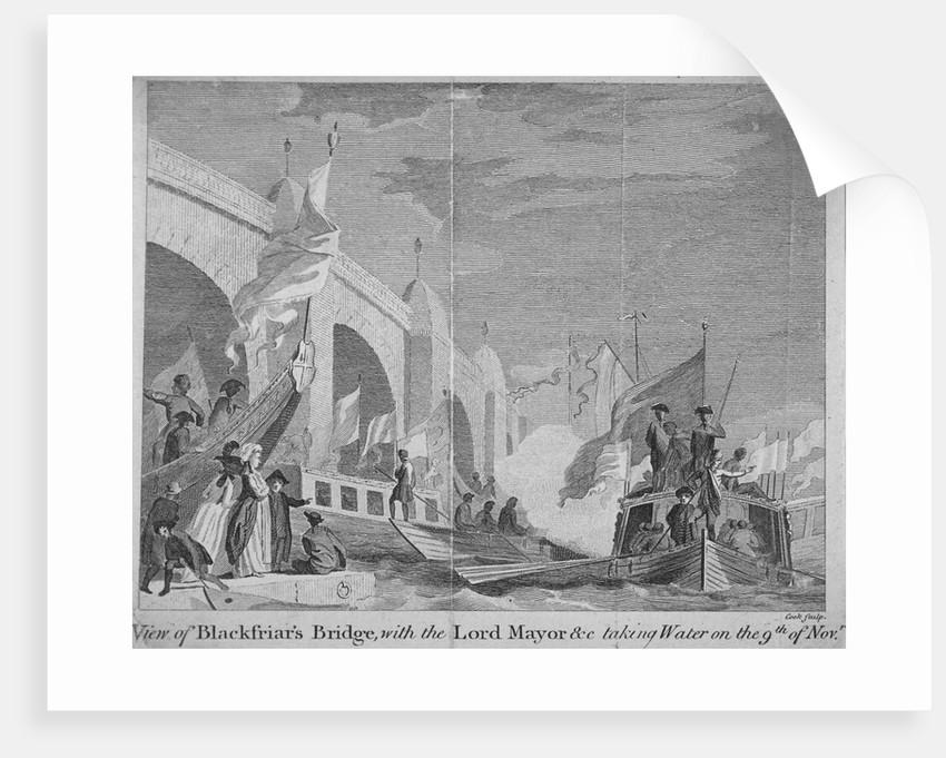 Lord Mayor's procession passing under Blackfriars Bridge, London by Thomas Cook