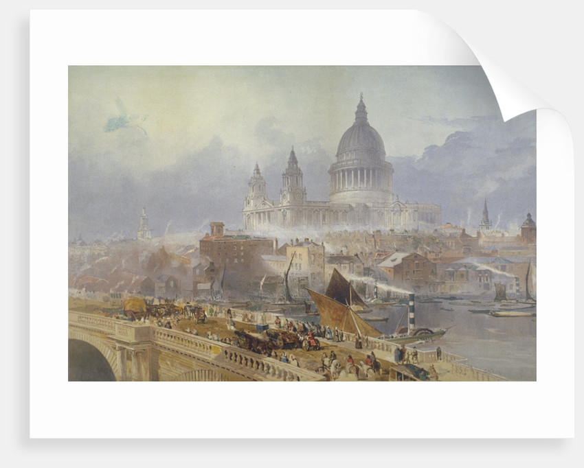 View of Blackfriars Bridge and St Paul's Cathedral, London by David Roberts