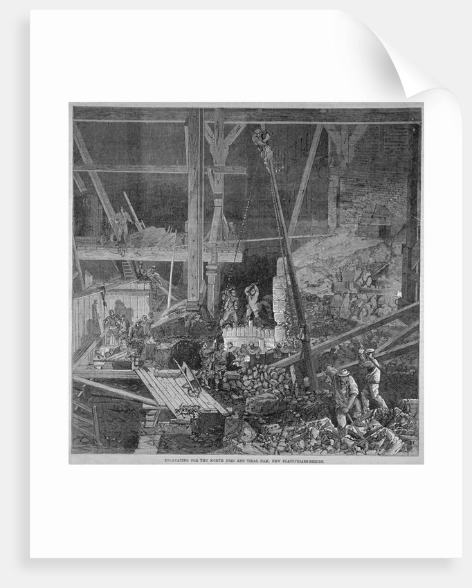 Excavation work for the north pier and tidal dam at Blackfriars Bridge, London by Anonymous