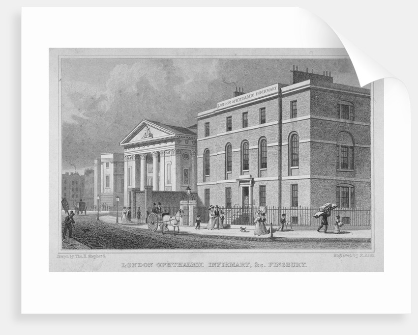 View of the London Opthalmic Infirmary, Blomfield Street, City of London by R Acon
