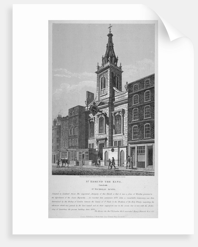 Church of St Edmund the King, looking west along Lombard Street, City of London by William Wise