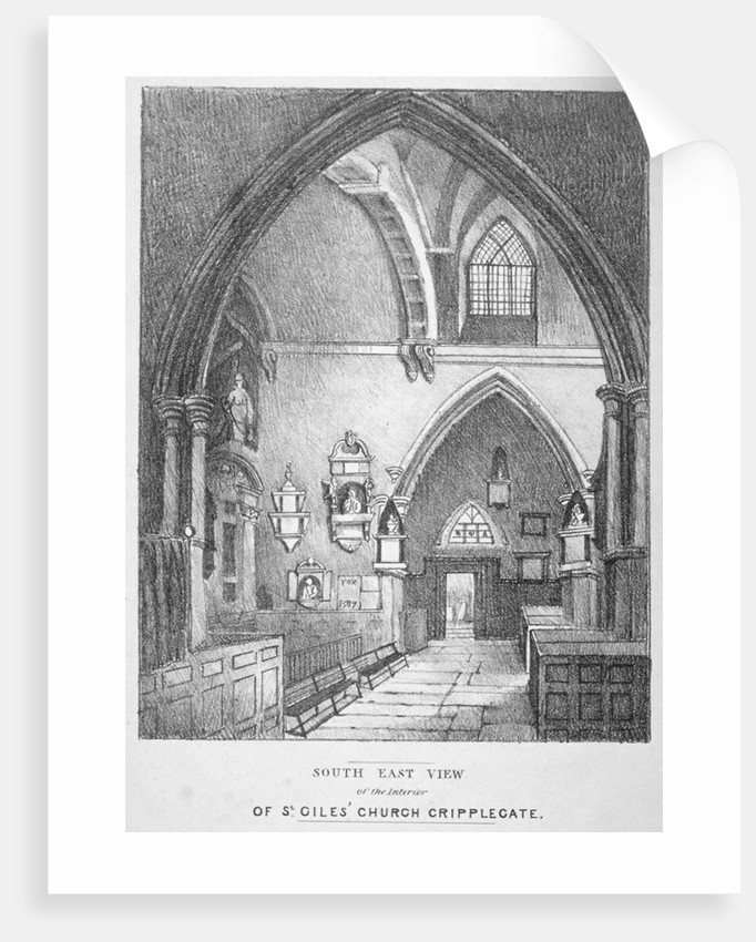 South-east view of the interior of the Church of St Giles without Cripplegate, City of London by Anonymous