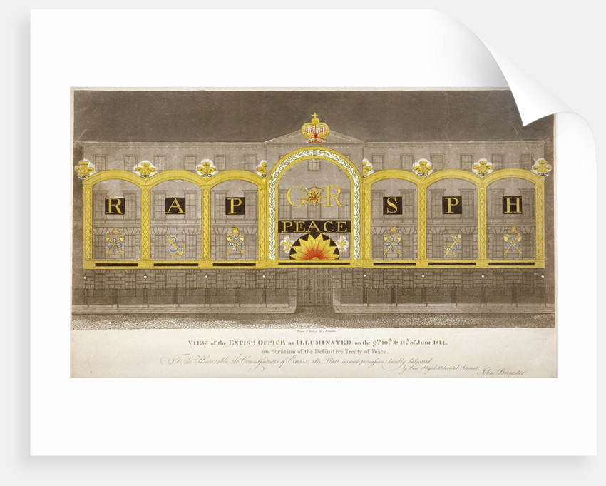 View of the Excise Office, Old Broad Street, City of London, as illuminated in June 1814 by Anonymous
