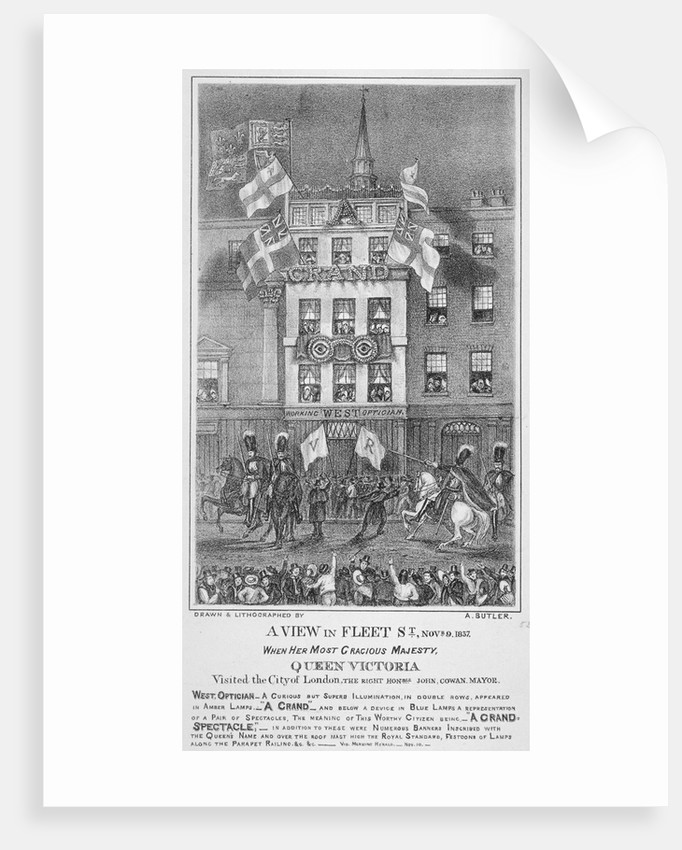 Royal procession on Fleet Street, City of London by Augustus Butler