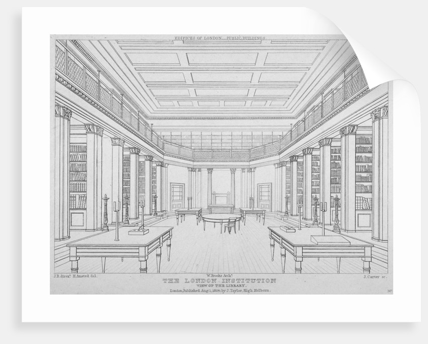 Interior view of the library in the London Institution, Finsbury Circus, City of London by James Carter