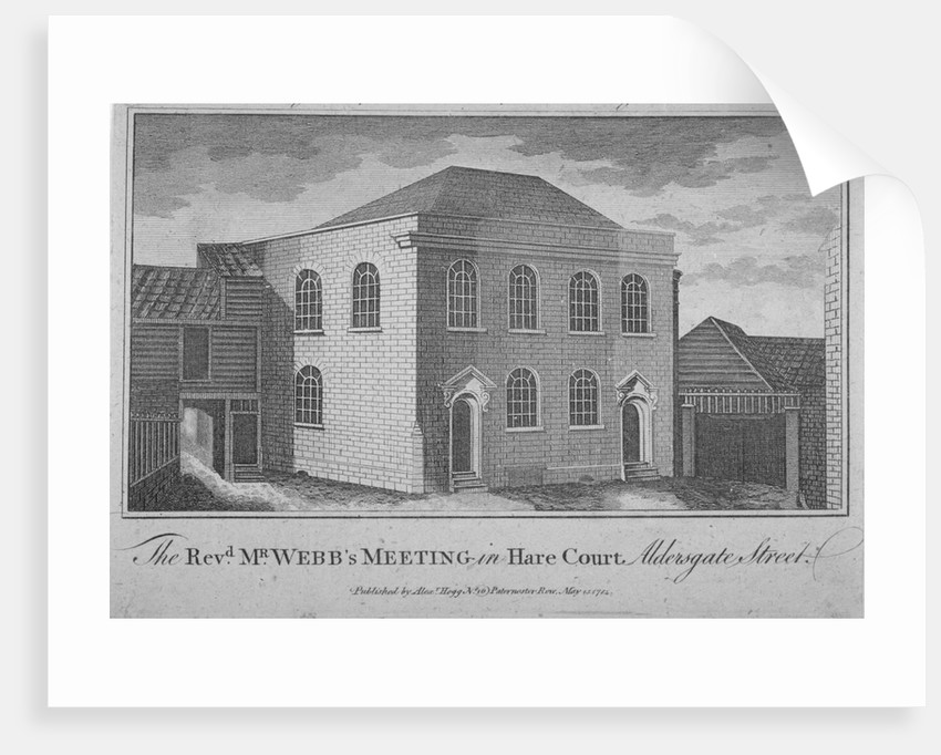View of Reverend Francis Webb's Meeting House, Hare Court, City of London by Anonymous