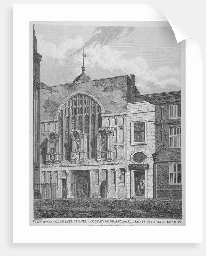 View of the Guildhall Chapel, giving its original dedication, City of London by