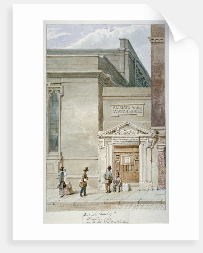 Partial view of St Katherine Cree and the Aldgate watch house, City of London by James Findlay