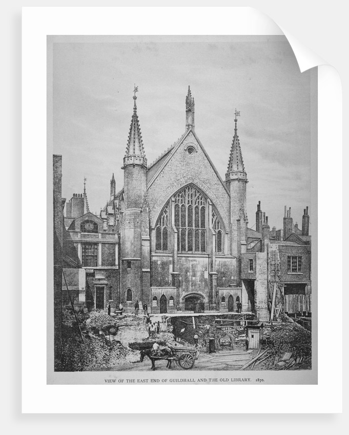 The east end of the Guildhall and the old Guildhall Library, City of London by
