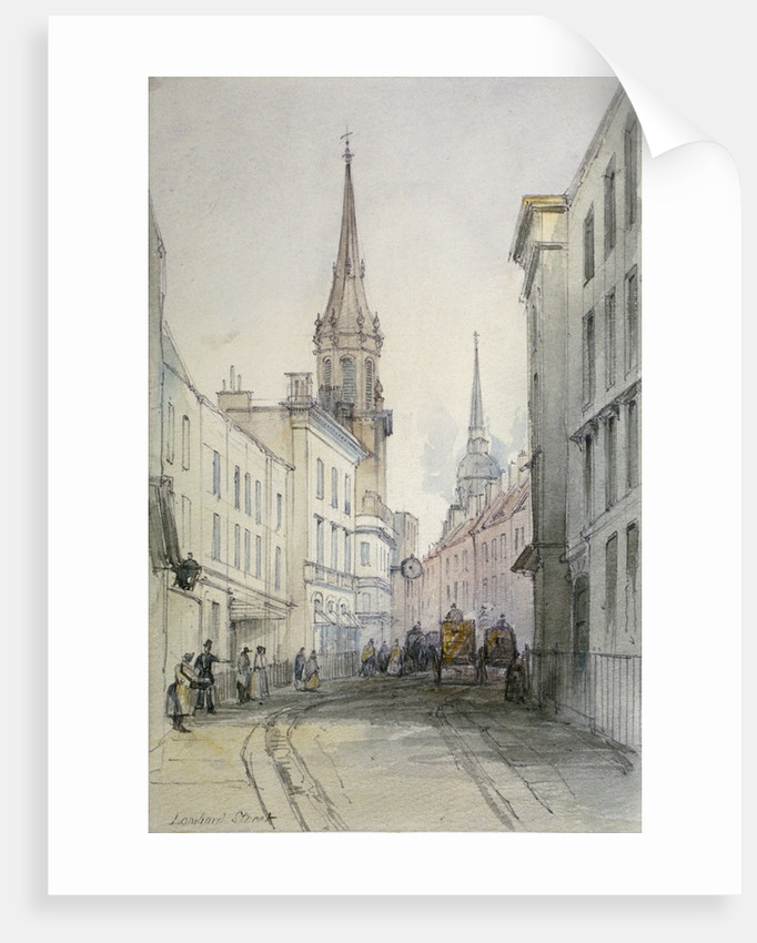 View along Lombard Street, looking east, with figures and carriages, City of London by Thomas Colman Dibdin