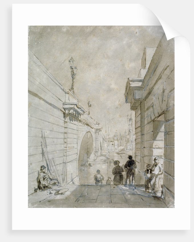 London Bridge looking north from the upper landing of steps near Tooley Street by Edward William Cooke
