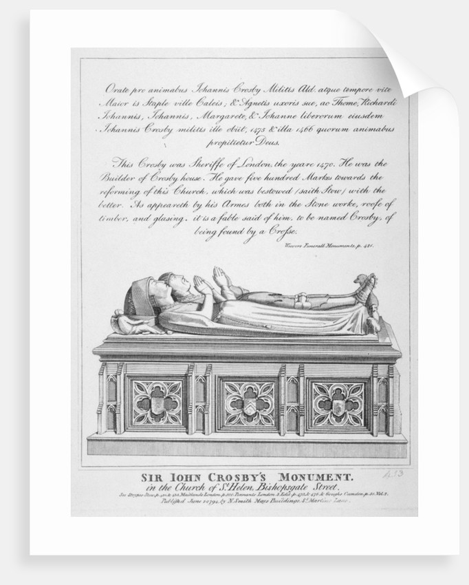 Tombs in the Church of St Helen, Bishopsgate, City of London by