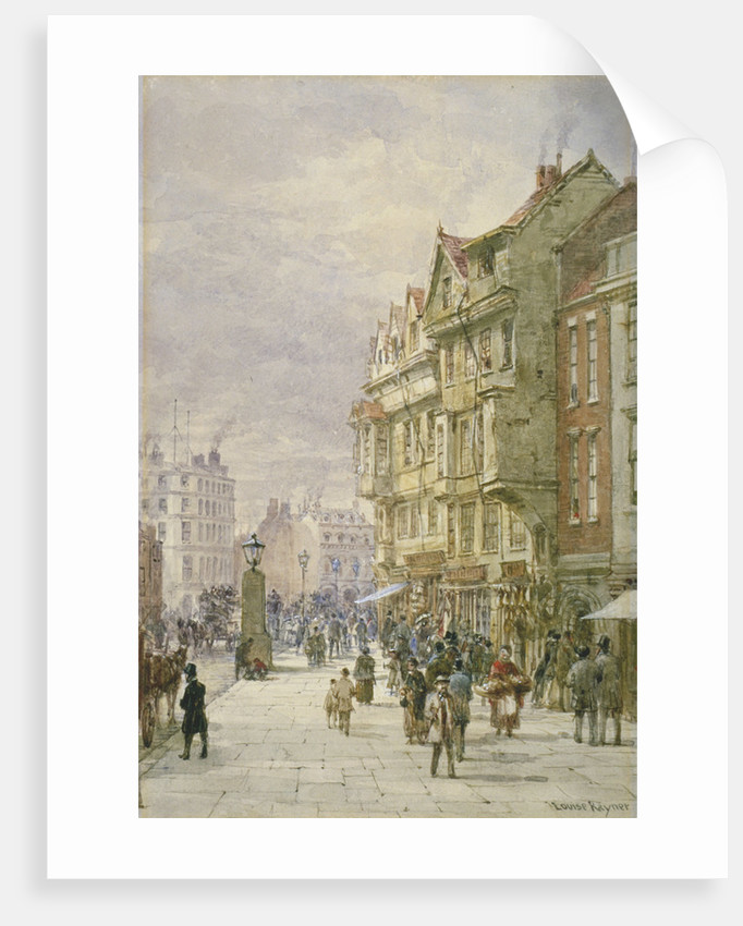 View east along Holborn with figures and horse-drawn vehicles on the street, London by Louise Rayner