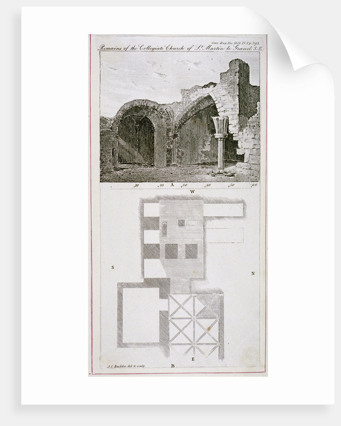 Remains of the Church of St Martin's le Grand, City of London by John Chessell Buckler