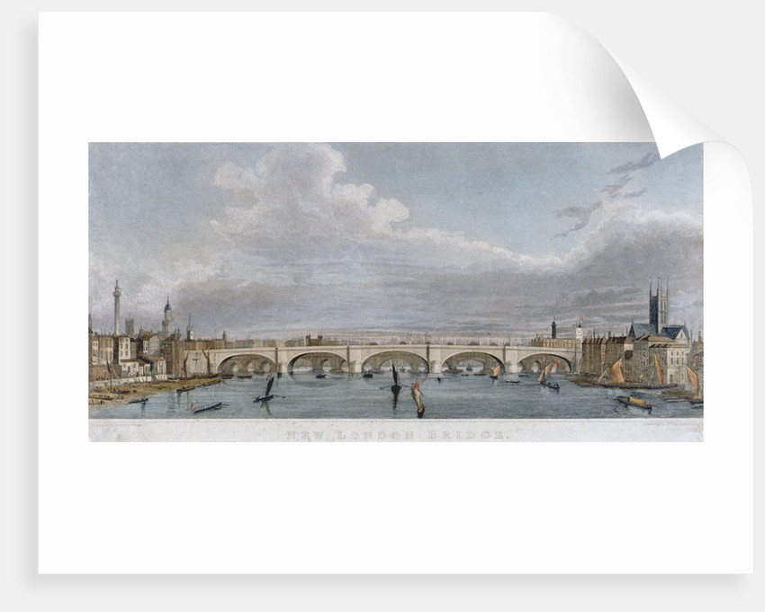 View of London Bridge from the west with boats on the River Thames by S Rogers