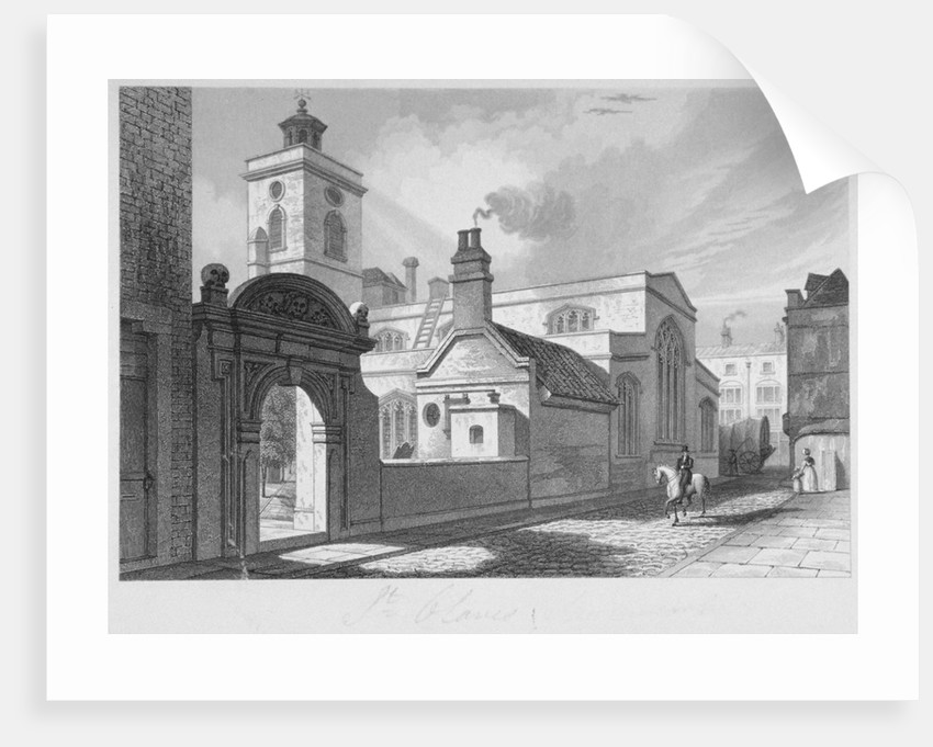 South-east view of the Church of St Olave, Hart Street, City of London by John Le Keux
