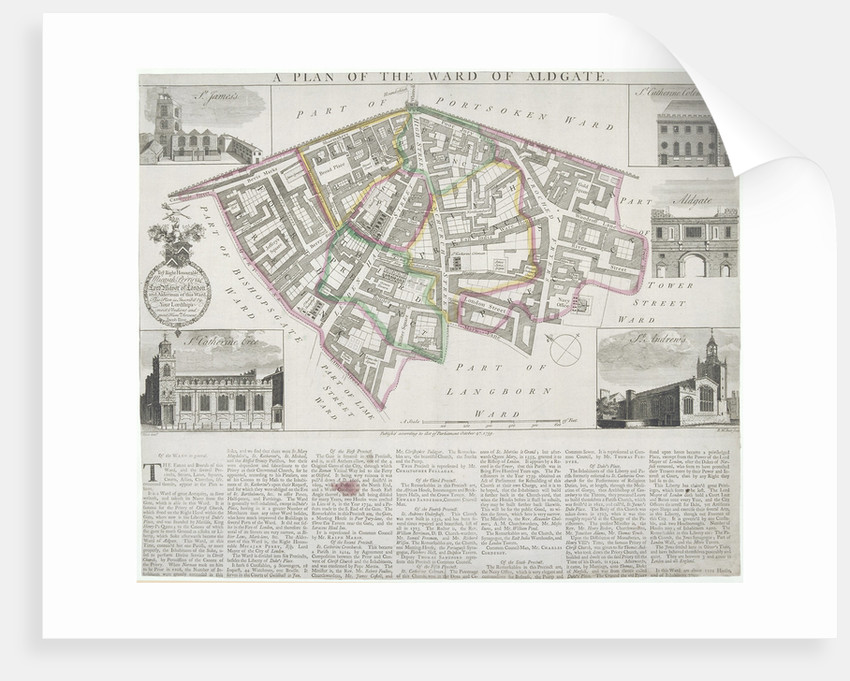 Map of Aldgate Ward, City of London by RW Seale