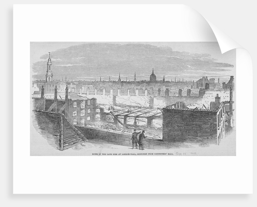 Ruins at London Wall from Carpenters' Hall as the result of a fire in 1849 by