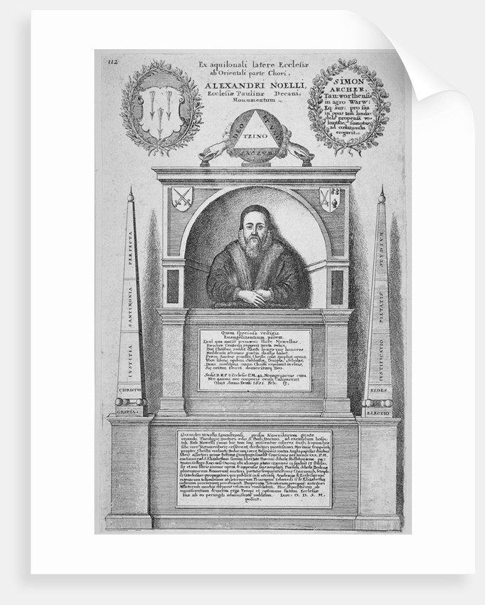 Monument of Alexander Noel in the old St Paul's Cathedral, City of London by Wenceslaus Hollar