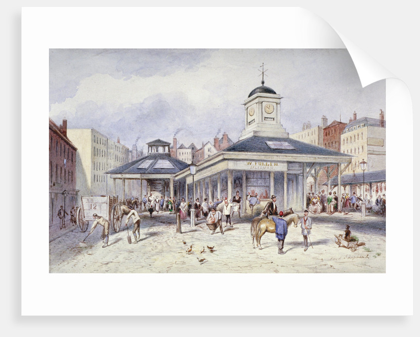 View of Newgate Market in Paternoster Square, City of London by