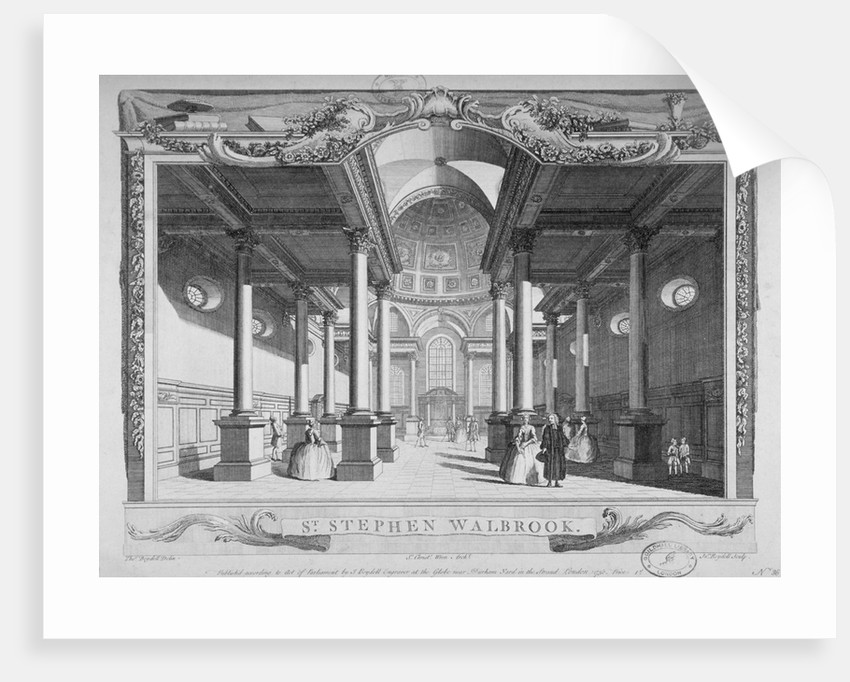 Interior view looking east, Church of St Stephen Walbrook, City of London by John Boydell