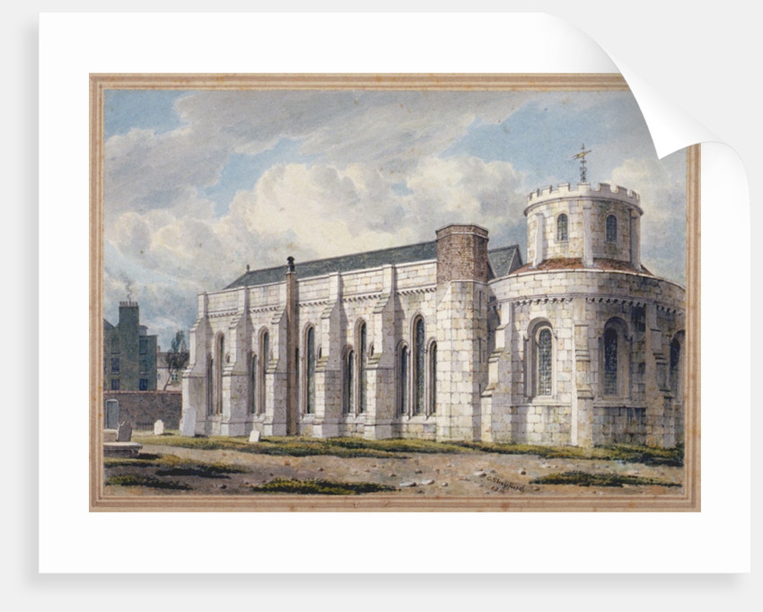 View of Temple Church from across the graveyard, City of London by George Shepherd