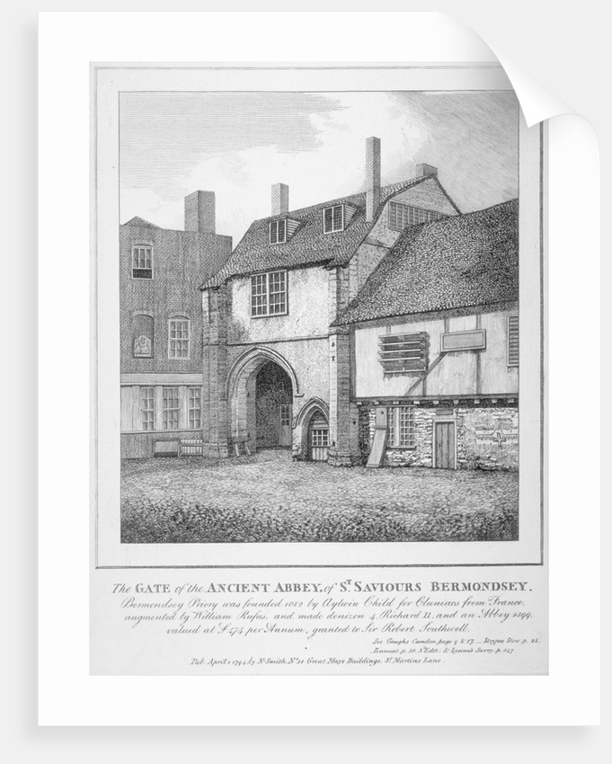 The gate to the Abbey of St Saviour, Bermondsey, Southwark, London by Anonymous