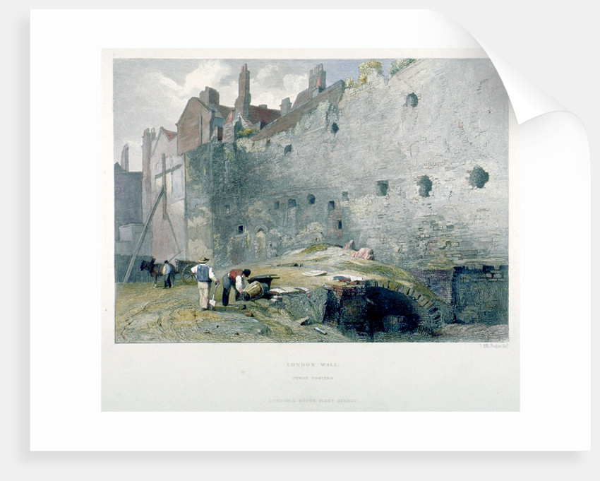 View of Tower Postern and London Wall with men digging, City of London by John Wykeham Archer