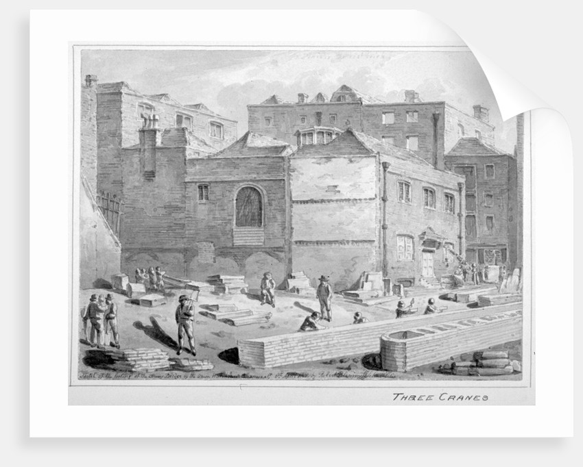 Footing for Southwark Bridge by the Union Warehouse, Upper Thames Street, City of London by Robert Blemmell Schnebbelie