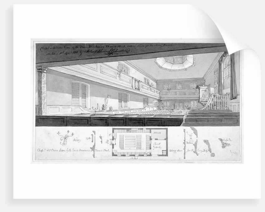 Three Cranes Lane Chapel, Upper Thames Street, City of London by Robert Blemmell Schnebbelie