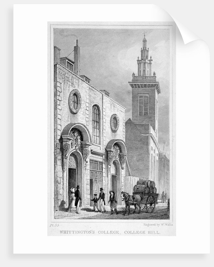 View of Whittington College, College Hill, City of London by W Wallis