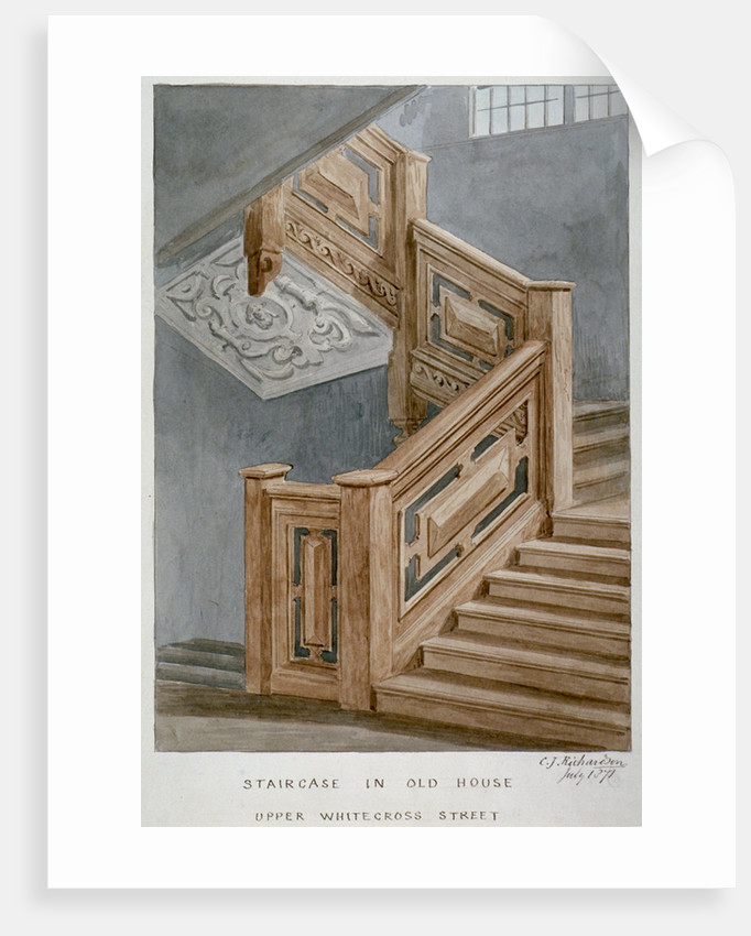 Staircase in a house on Whitecross Street, London by Charles James Richardson