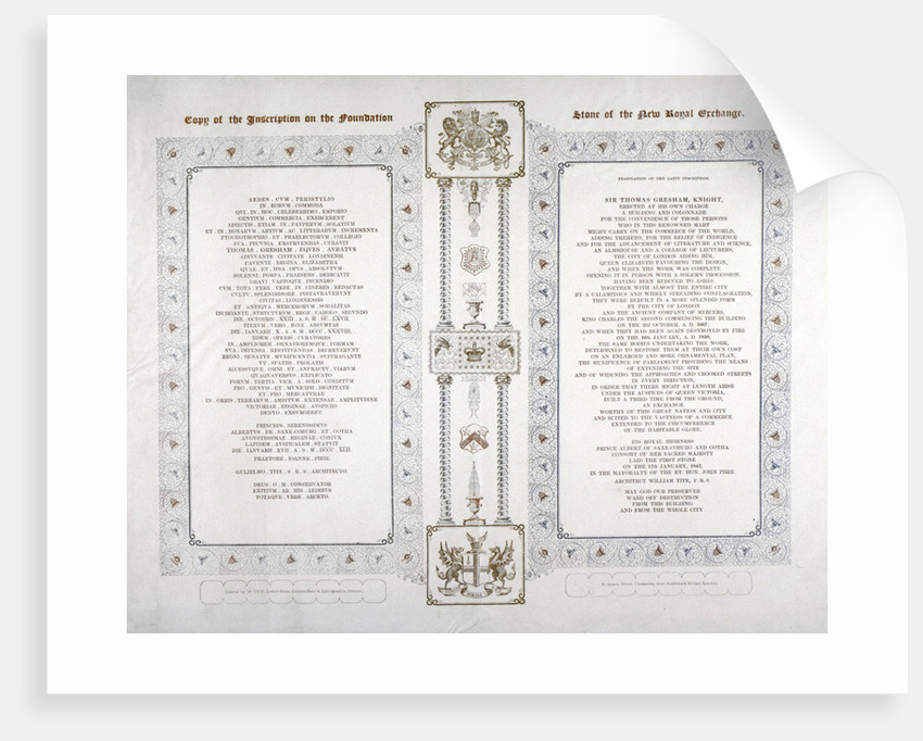 Copy of the inscription on the foundation stone of the new Royal Exchange, London by