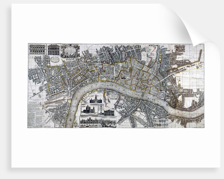 Map of the City of London, City of Westminster, River Thames, Lambeth and Southwark by Anonymous