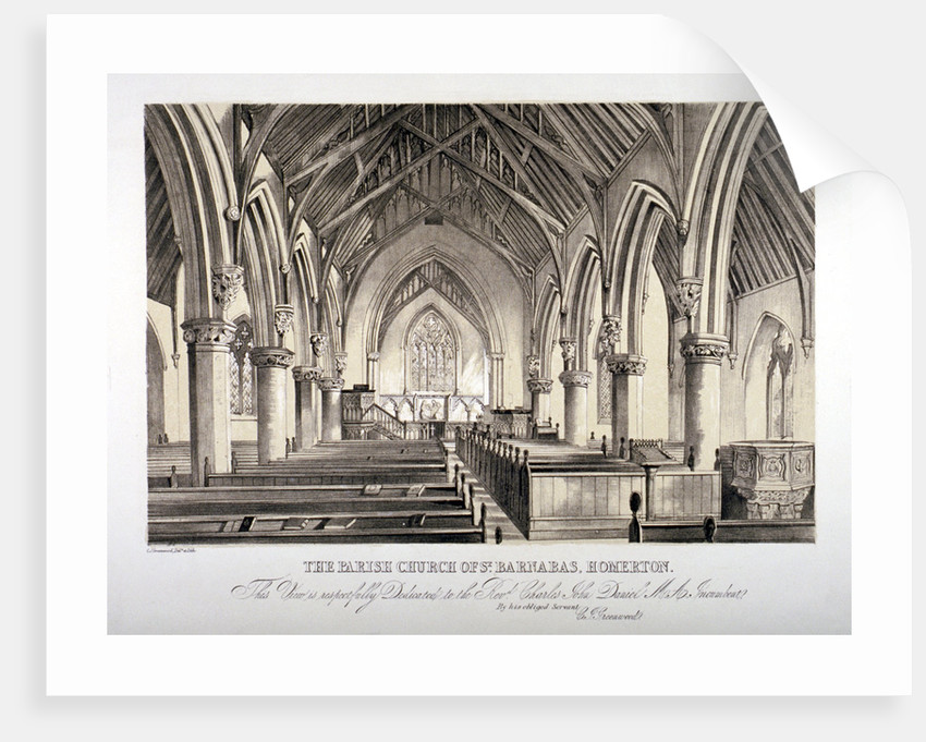 Interior view of St Barnabas Church, Homerton, Hackney, London by CJ Greenwood