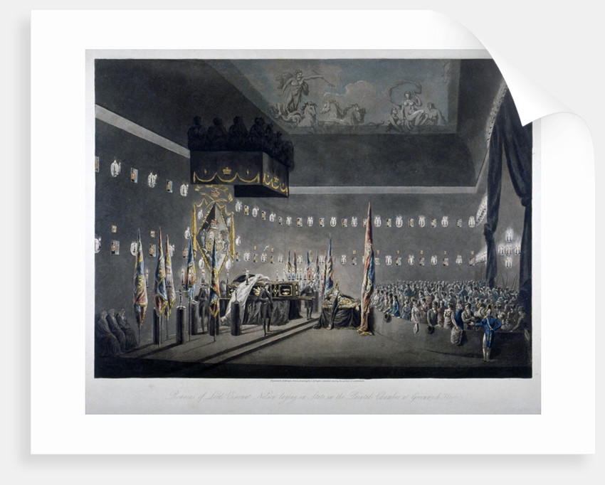 Lord Nelson lying in state in the painted chamber at Greenwich Hospital, London by M Merigot