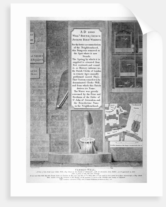 View of the pump near Clerks' Well in Ray Street, Finsbury, London by Bartholomew Howlett