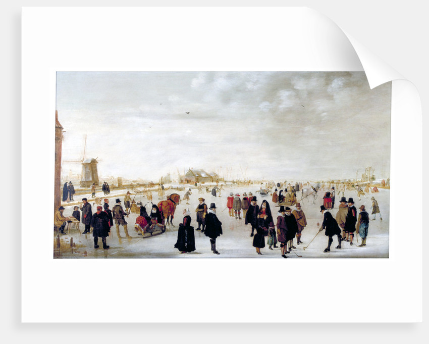 Winter landscape on the River Ijsel near Kampen by Hendrick Avercamp